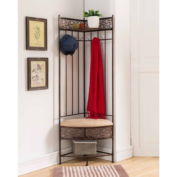 Shop Copper Metal Corner Hall Tree Bench On Sale Free Shipping Today Overstock 15095301
