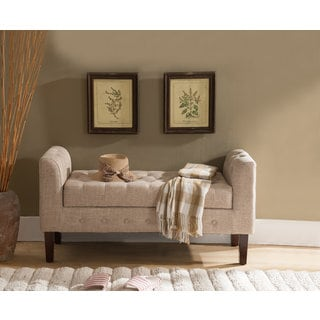 K and B Furniture Brown Microfiber Storage Bench