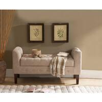 K and B Furniture Brown Microfiber Storage Bench