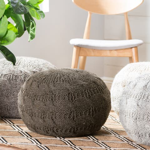 Oslo Round Wool Ottoman Pouf by Christopher Knight Home