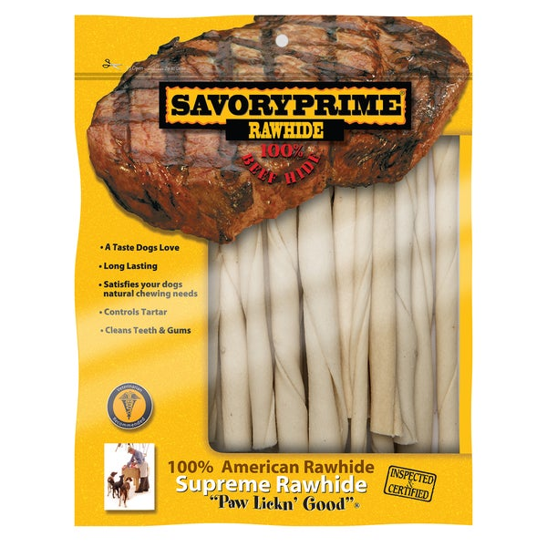 """Savory Prime 5"""" White American Twist Sticks Dog Treats 30 Count. Opens flyout."""
