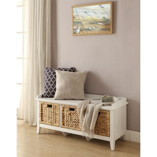 Havenside Home Saybrook Storage Bench with Three Brown Rattan Basket Drawers