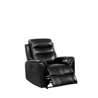 Buy Black Leather Power Recline Recliner Chairs