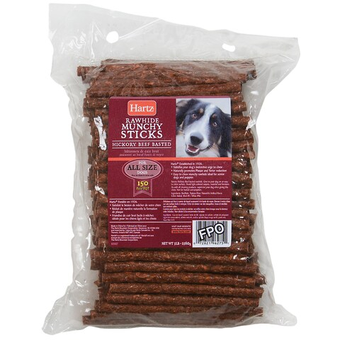 Hartz Dental Hickory Beef Flavored Rawhide Munchy Sticks 150 Count