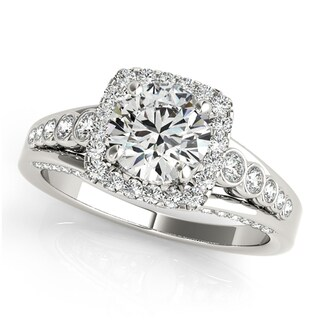 Transcendent Brilliance Curved Graduated Floating Halo Diamond Bridal Wedding Set 18k Gold 1 13/4 TDW