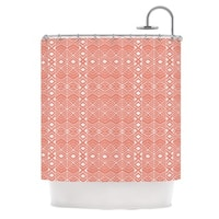KESS InHouse Pom Graphic Design Aztec Roots Orange Tribal Shower Curtain (69x70)