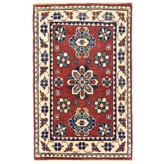 Herat Oriental Afghan Hand-knotted Vegetable Dye Tribal Kazak Wool Rug (2' x 3'2)