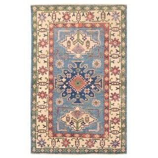 Herat Oriental Afghan Hand-knotted Vegetable Dye Tribal Kazak Wool Rug (2'7 x 3'11)
