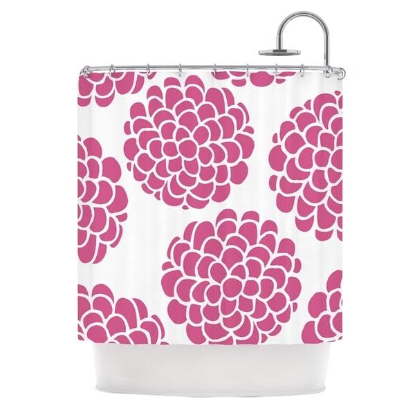 KESS InHouse Pom Graphic Design Raspberry Blossoms Teal Circles Shower Curtain (69x70)