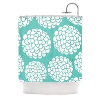 KESS InHouse Pom Graphic Design Hydrangea's Blossoms Teal Circles Shower Curtain (69x70)