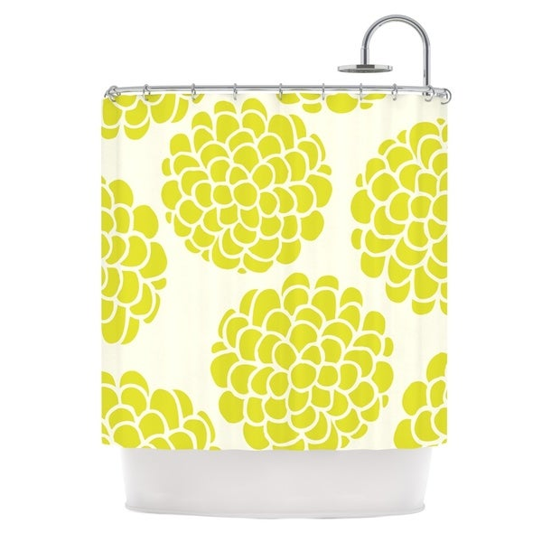 KESS InHouse Pom Graphic Design Grape Blossoms Yellow Circles Shower Curtain (69x70)