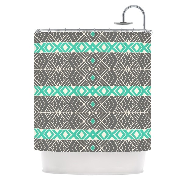 KESS InHouse Pom Graphic Design Going Tribal Gray Green Shower Curtain (69x70)