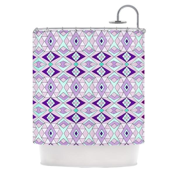 KESS InHouse Pom Graphic Design Geometric Flow Lavender Geometric Shower Curtain (69x70)