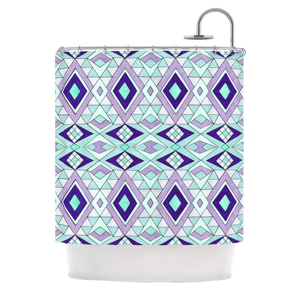 KESS InHouse Pom Graphic Design Gems Purple Teal Shower Curtain (69x70)