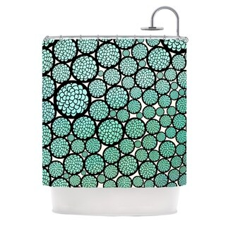 KESS InHouse Pom Graphic Design Blooming Trees Turquoise Circles Shower Curtain (69x70)
