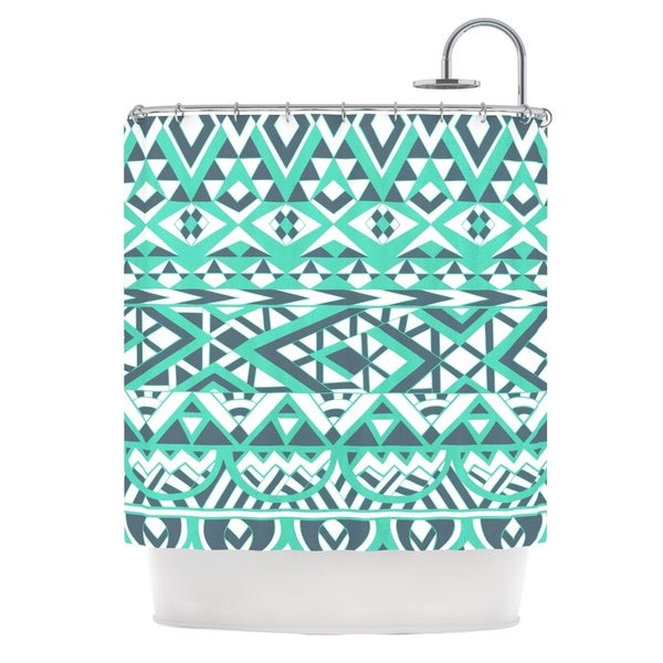 KESS InHouse Pom Graphic Design Tribal Simplicity Teal Shower Curtain (69x70)
