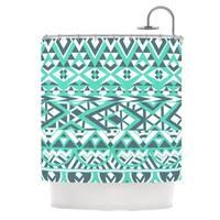 KESS InHouse Pom Graphic Design Tribal Simplicity Teal Shower Curtain (69x70)