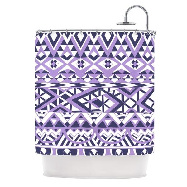 KESS InHouse Pom Graphic Design Tribal Simplicity II Purple White Shower Curtain (69x70)