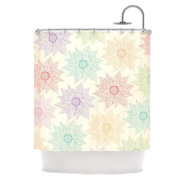 KESS InHouse Pom Graphic Design Spring Florals Rainbow Tan Shower Curtain (69x70)
