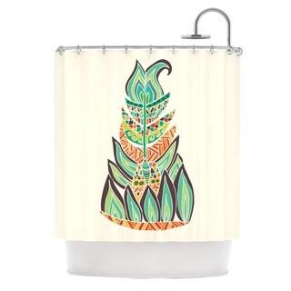 KESS InHouse Pom Graphic Design Tribal Feather Green Orange Shower Curtain (69x70)