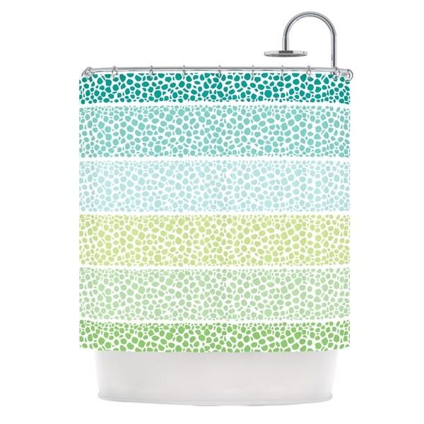 KESS InHouse Pom Graphic Design Zen Pebbles Green Teal Shower Curtain (69x70)