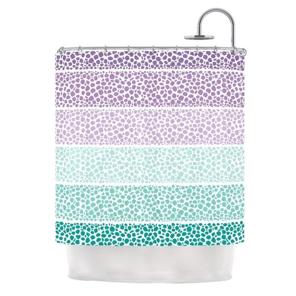 KESS InHouse Pom Graphic Design Riverside Pebbles Colored Purple Teal Shower Curtain (69x70)
