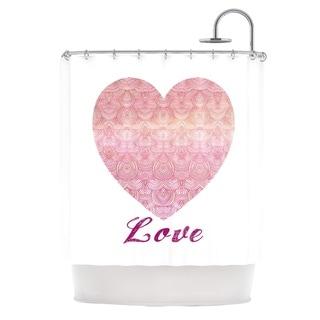KESS InHouse Pom Graphic Design Love Pink White Shower Curtain (69x70)