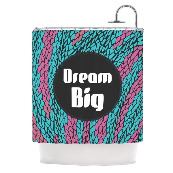 KESS InHouse Pom Graphic Design Dream Big Blue Purple Shower Curtain (69x70)