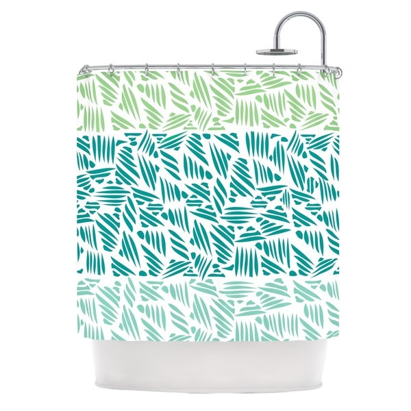 KESS InHouse Pom Graphic Design Bamboo Teal Green Shower Curtain (69x70)