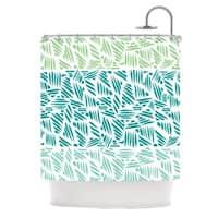 KESS InHouse Pom Graphic Design Bamboo Teal Green Shower Curtain (69x70)