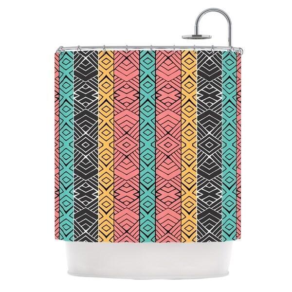 KESS InHouse Pom Graphic Design Artisian Pink Teal Shower Curtain (69x70)