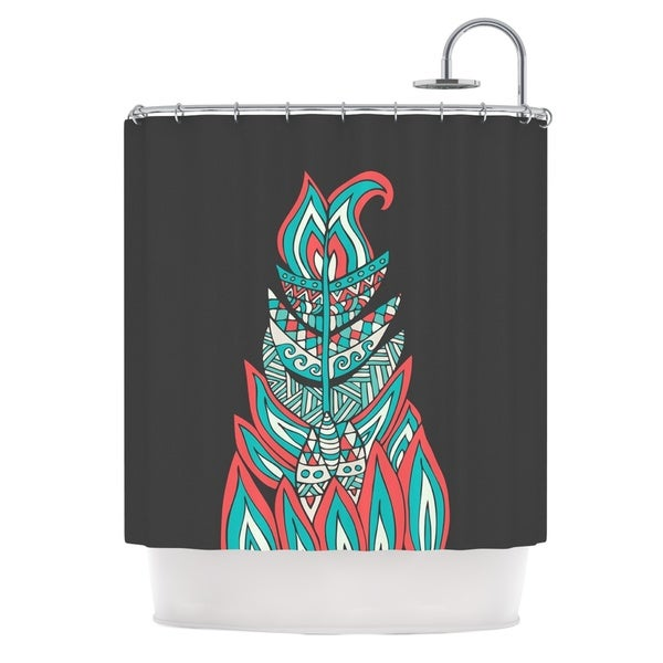KESS InHouse Pom Graphic Design A Romantic Feather Red Teal Shower Curtain (69x70)