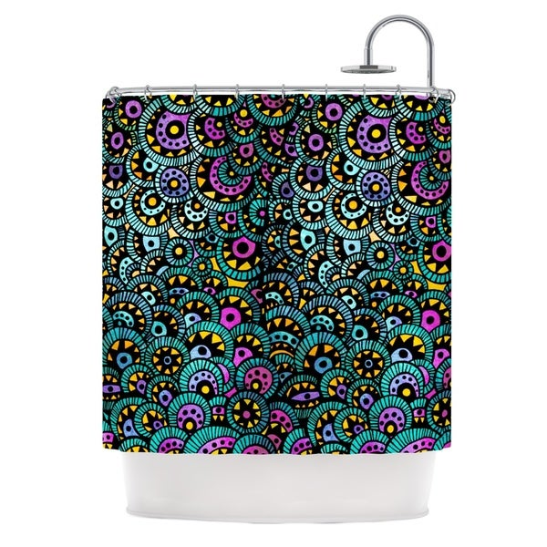 KESS InHouse Pom Graphic Design Peacock Tail Shower Curtain (69x70)