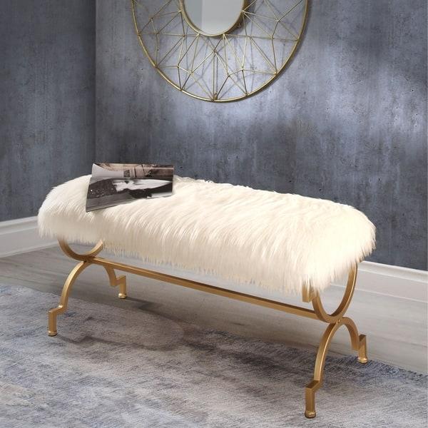 Surprising Shop Abbyson Zoe White Faux Fur Iron Rectangle Bench On Uwap Interior Chair Design Uwaporg