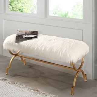 Link to Abbyson Zoe White Faux Fur Iron Rectangle Bench Similar Items in Ottomans & Storage Ottomans