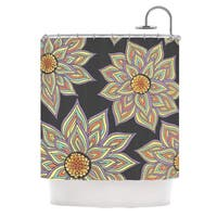 KESS InHouse Pom Graphic Design Floral Rhythm in the Dark Shower Curtain (69x70)