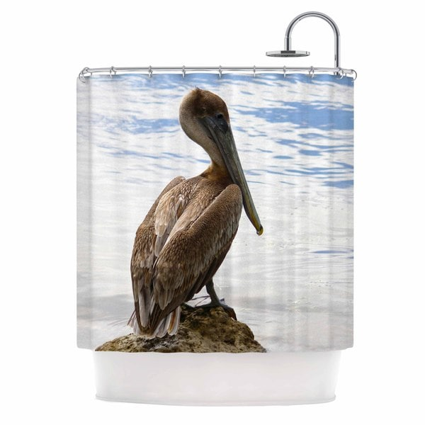 KESS InHouse Philip Brown Pelican Waiting Blue Photography Shower Curtain (69x70)