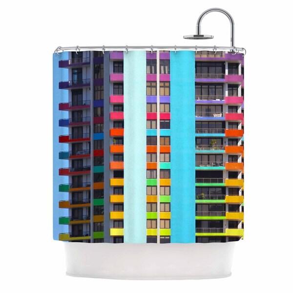 KESS InHouse Philip Brown The Rainbow Building Multicolor Modern Shower Curtain (69x70)