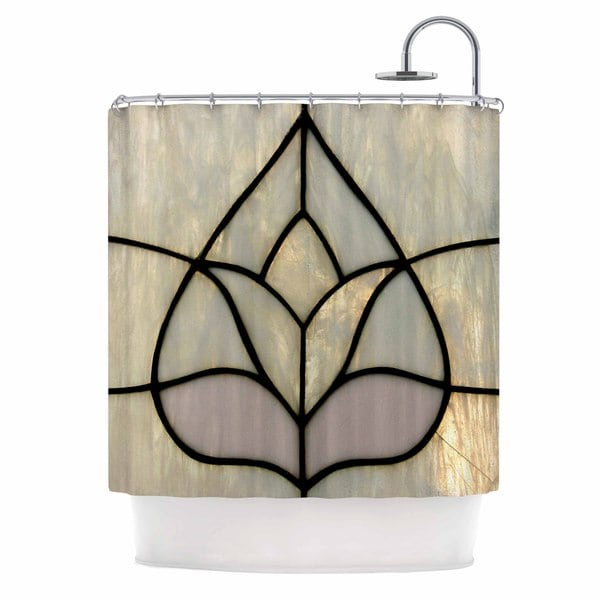KESS InHouse Philip Brown Tulip Stained Glass Floral Digital Shower Curtain (69x70)