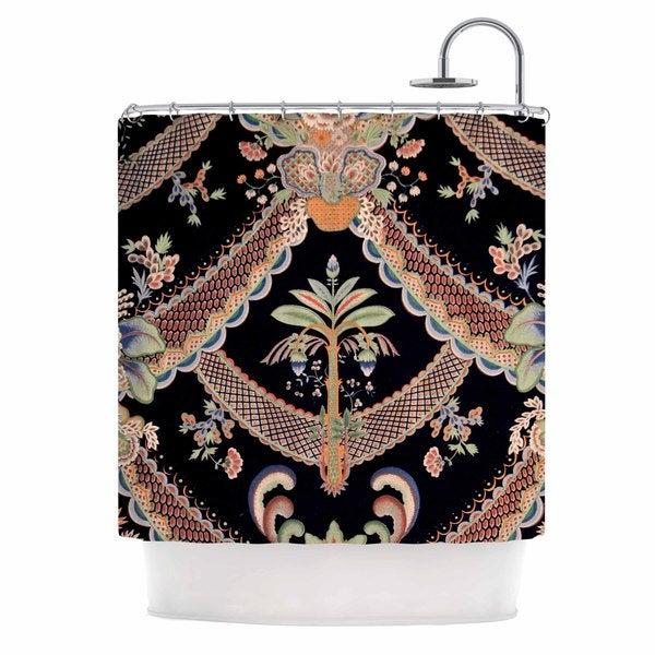 KESS InHouse Philip Brown Vintage Paisley Pattern Black Art Deco Shower Curtain (69x70)