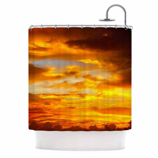 KESS InHouse Philip Brown Painted Sunset Orange Photography Shower Curtain (69x70)