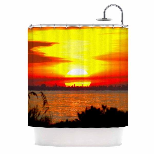 KESS InHouse Philip Brown Sunrise On Sanibel Coral Gold Shower Curtain (69x70)
