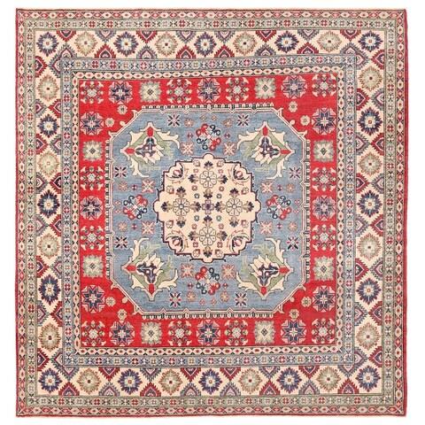 Handmade Herat Oriental Afghan Vegetable Dye Kazak Wool Rug - 7'11 x 8'3 (Afghanistan)