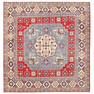Herat Oriental Afghan Hand-knotted Vegetable Dye Kazak Wool Rug (7'11 x 8'3)