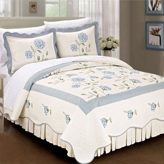 Serenta Prewashed Classic Embroidery Sun Flowers 3 Piece 100% Cotton Quilt Set