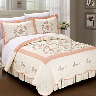 Serenta Prewashed Classic Embroidery Roses 3-piece Cotton Quilt Set