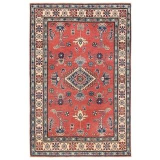 Herat Oriental Afghan Hand-knotted Vegetable Dye Kazak Wool Rug (3'9 x 5'7)