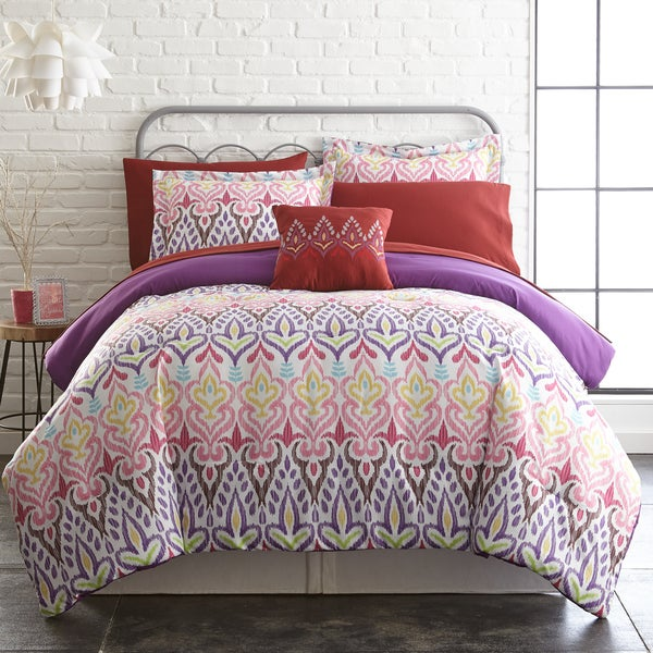 Amraupur Overseas 8-piece Printed Reversible Complete Bed Set Tribal Ikat