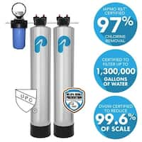 10 GPM Whole House Water Filtration and NaturSoft Salt-Free Softener System - Silver