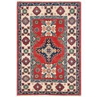 Herat Oriental Afghan Hand-knotted Vegetable Dye Tribal Kazak Wool Rug (2' x 3')